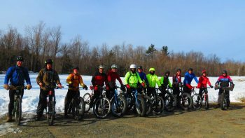 Mountain bikers ready to ride singletrack at Kenneth Dubuque State Forest in Hawley, MA