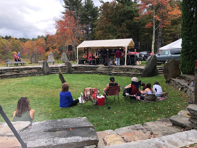 A Sunday concert in the stone theater of Three Sisters Sanctuary, in Goshen.